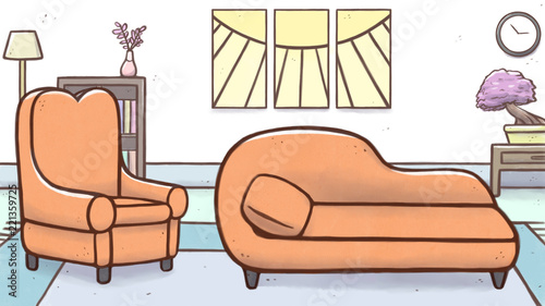 Fotografia, Obraz  Psychologist therapy room with armchair and couch – cartoon
