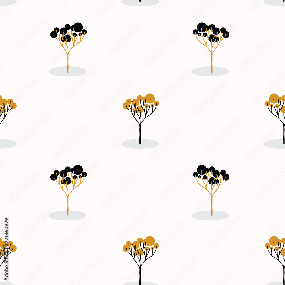 Fotografija  Stylized Tree Wood Repeating Seamless Pattern, Hand Drawn Vintage Style Nature l