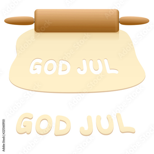 Merry Christmas Cookies Cut Out From Pastry Dough Saying God Jul In