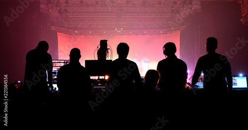 Sound and lighting technicians and the crowd in a concert Canvas Print