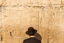 Jewish Man Is Praying At The Wailing Wall