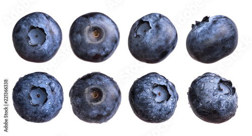 Set of fresh blueberry with water drops isolated on white background.