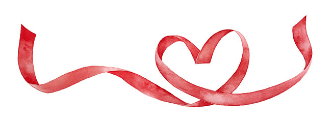 Red ribbon shaped as love h...