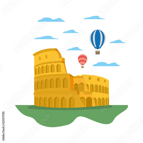 Vászonkép coliseum rome and funny air balloons