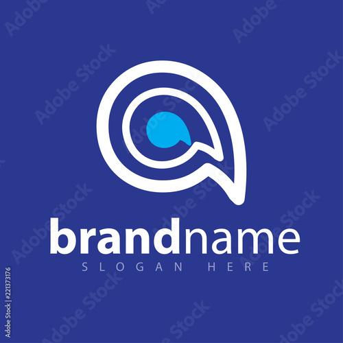eye talk line abstract letter logo design stock template Wallpaper Mural