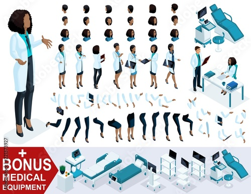 Isometric Woman Doctor African American, create your 3D surgeon, sets of gestures of the feet, hands and emotions. Bonus medical equipment, set 5 Fototapete