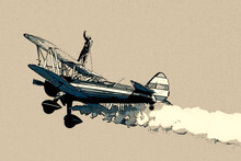 Wing Walker On Biplane Posteri...