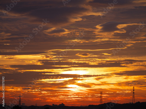 Foto  Tokyo,Japan-September 7, 2018: Dramatic sunrise sky with colorful clouds like ab