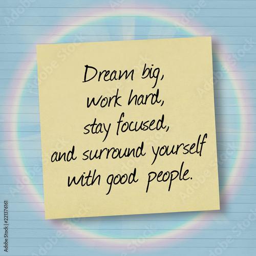 Dream Big Work Hard Inspirational Quote