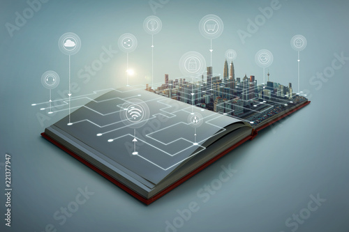 Fotografía Beautiful scene of modern city skyline pop up in the open book pages with smart home controlled wireless connections iot automation system