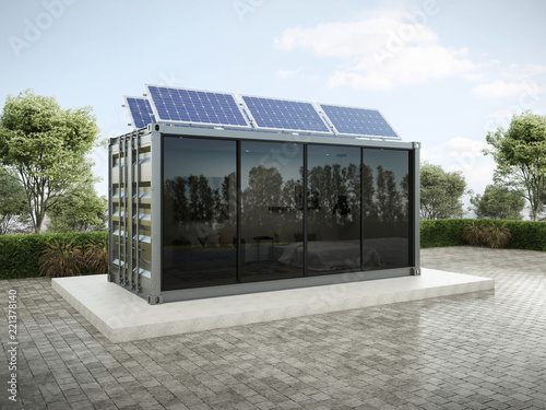 Photo Container house with solar panels on the roof 3D render.