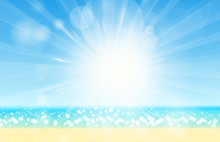 Blurred Summer Beach Sky, Sea, Ocean And Sand Landscape For Background And Wallpaper. Summer Background Vector Illustration. Lens Flare.