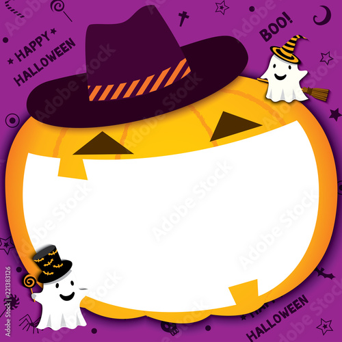 Fotografia, Obraz  Illustration vector of Halloween pumpkin design for frame and photo booth on party