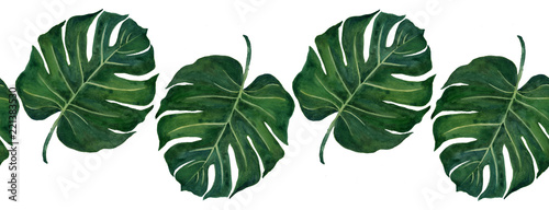 Cotton fabric Hand drawn watercolor tropical plants set exotic leaves hand draw
