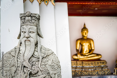 Chinese Ballast, or Chinese rock giants background blured focus on Buddha Statue Canvas Print