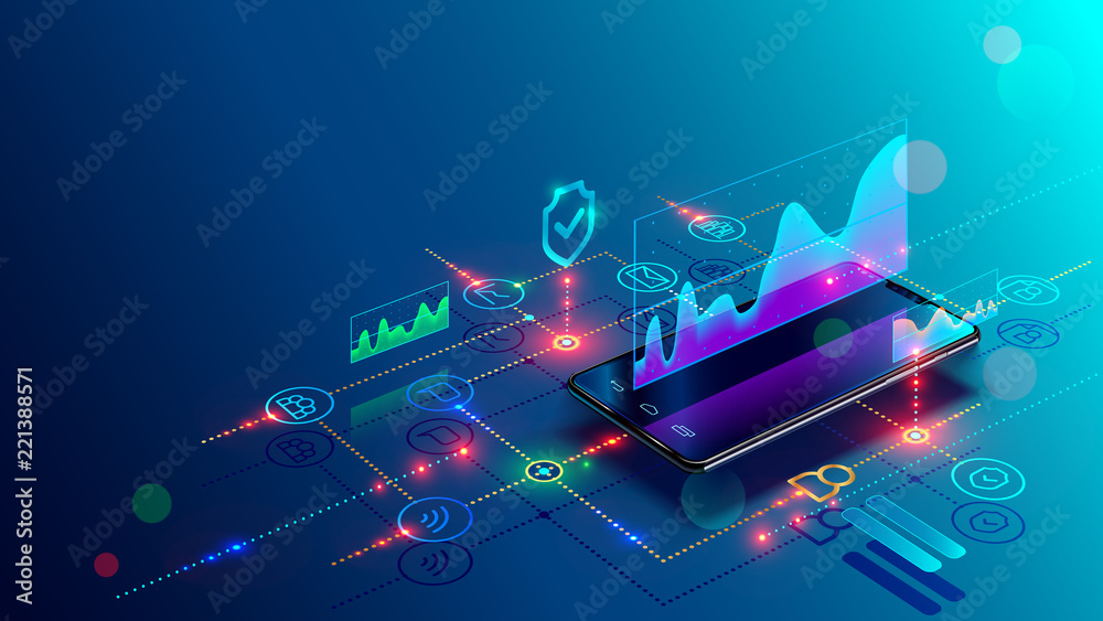 Fototapeta Application of Smartphone with business graph and analytics data on isometric mobile phone. Analysis trends and financial strategy by using infographic chart. Vector concept illustration