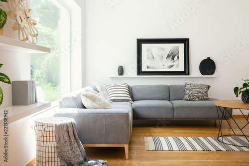 Fotografie, Obraz  Black and white textiles and decorations in a classic scandinavian style living