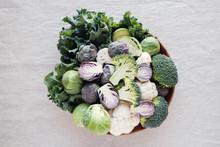 Cruciferous Vegetables, Cauliflower,broccoli, Brussels Sprouts, Kale In Wooden Bowl, Reducing Estrogen Dominance, Ketogenic Diet