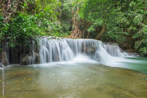 Foto op Plexiglas Groene Third of Hauy mae khamin waterfall located in deep forest of Kanchanaburi province,Thailand.