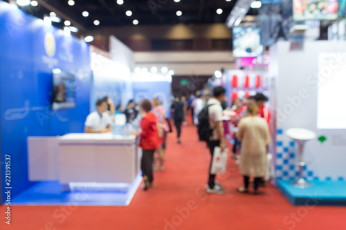 Obraz Abstract blurred event exhibition with people background, business convention show concept. - fototapety do salonu