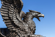 Bronze Statue Of A Formidable Eagle In The Style Of Gothic.
