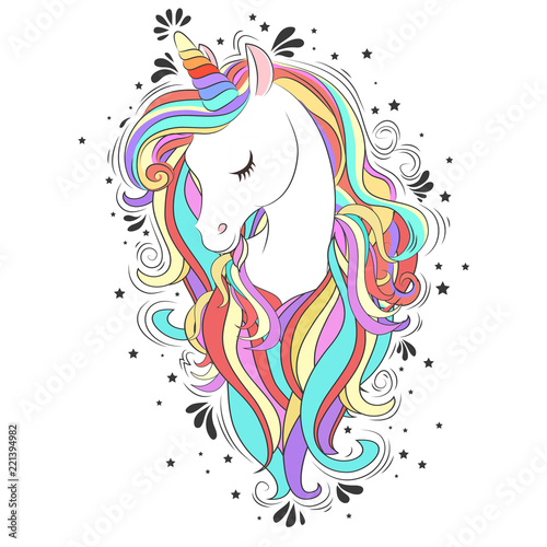 Cute White Unicorn with rainbow hair