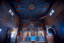 Interior In Russian Wooden Church / Orthodox Wooden Architecture, Interior Orthodoxy