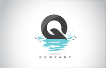 Q Letter Logo Design With Water Splash Ripples Drops Reflection