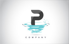 P Letter Logo Design With Wate...