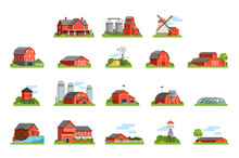 Farm House And Constructions Set, Agriculture Industry And Countryside Buildings Vector Illustrations