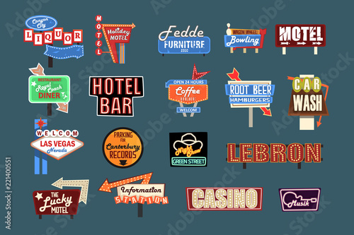 Photo  Neon signboards, billboards, light boxes and banners set of vector Illustrations