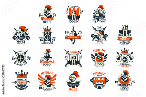 Medieval logo design set, middle ages vintage emblem vector Illustrations Wallpaper Mural