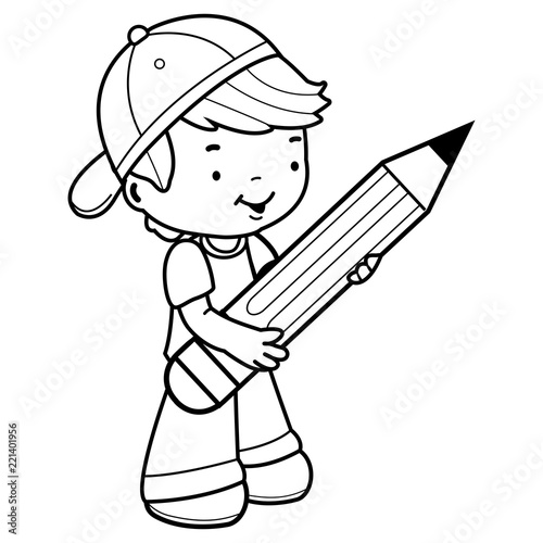 Little boy student holding a big pencil. Black and white ...