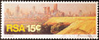 canvas print picture - Johannesburg cityscape on south african postage stamp