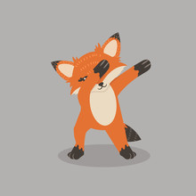 Fox Dub Dancing Sign Vector