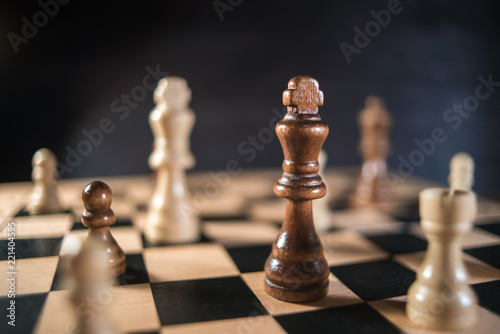 Fotografia, Obraz Chess on chessboard close up
