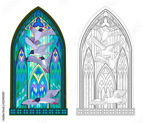 Fototapeta  Colorful and black and white pattern of Gothic stained glass window with flying seagulls