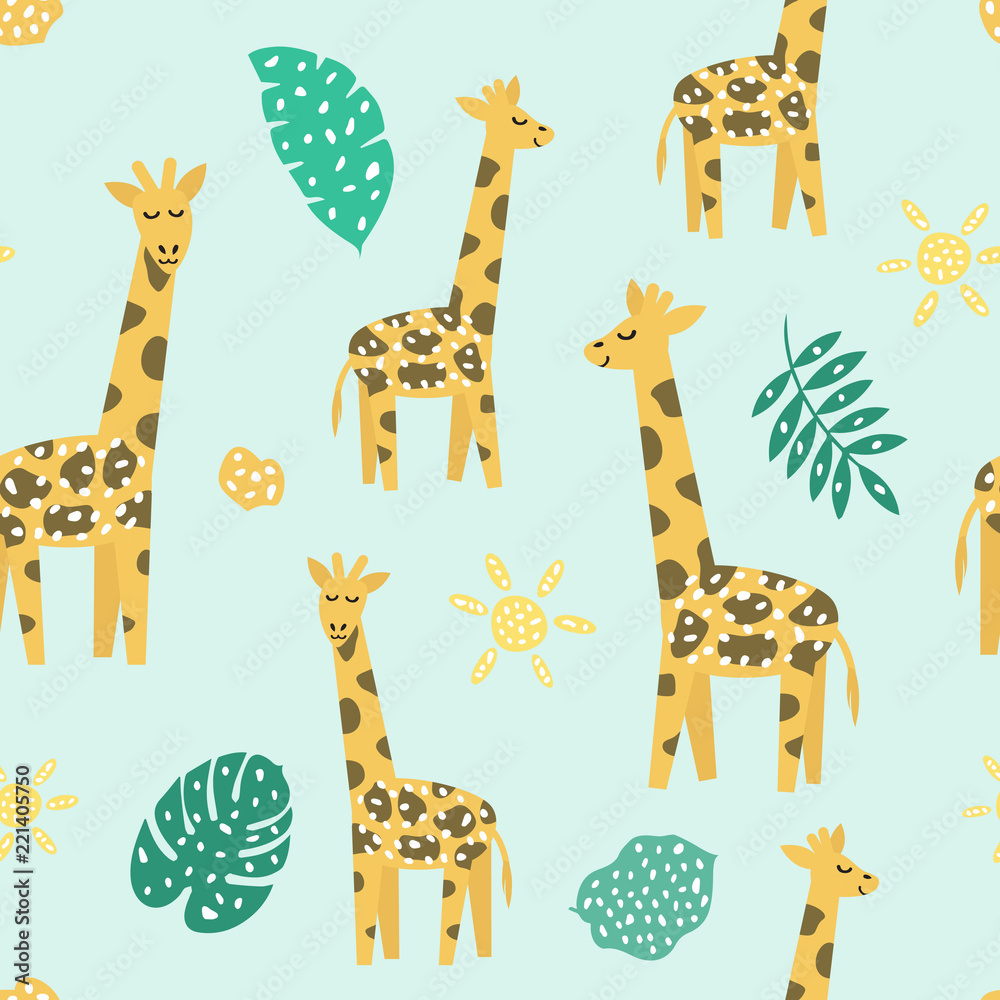 Childish seamless pattern with cute giraffe. Creative texture for fabric