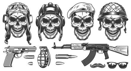 Set of millitary skulls