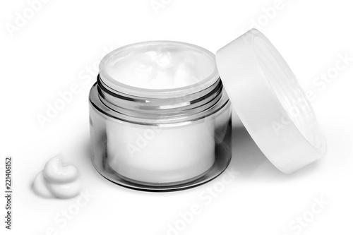 Container of moisturizing face cream on white background Fototapeta