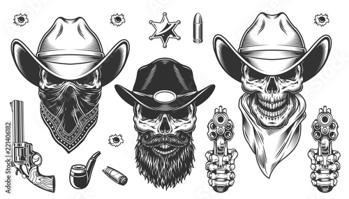 Fotografie, Obraz Set of cowboys