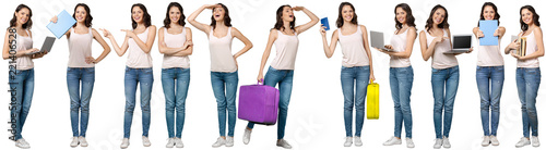 Obraz Collage of young woman. Isolated on white background - fototapety do salonu