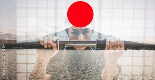 Fotografía  Samurai training in a traditional dojo, in Tokyo