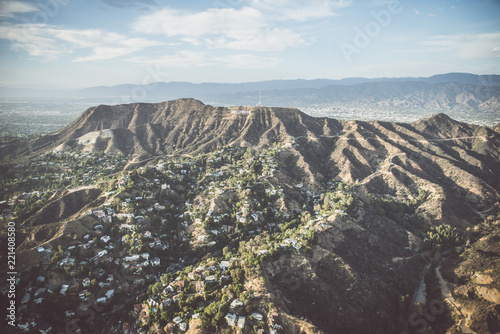 Spoed Foto op Canvas Verenigde Staten HOLLYWOOD, CA - SEPTEMBER 28, 2016: Hollywood sign and Los angeles view from helicopter.Originally created as advertisement for real estate development.
