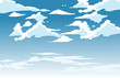 Leinwandbild Motiv Vector blue sky clouds. Anime clean style. Background design