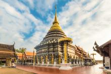 Buddhism Temple Lanna Golden Pagoda Phra That Lampang Luang Blue Sky Cloudy, Lampang, Thailand