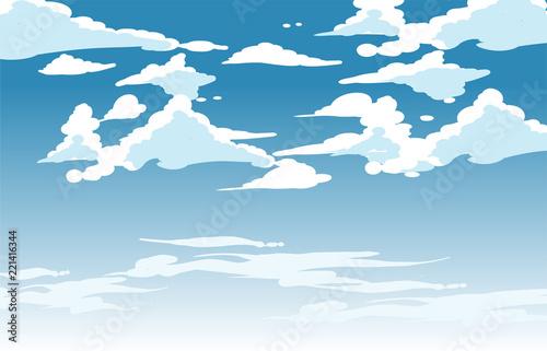 Wektorowe niebieskie niebo chmury. Anime czysty styl. Projekt tła