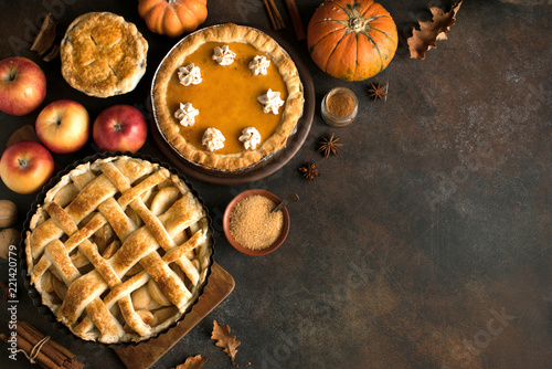 Thanksgiving pumpkin and apple pies