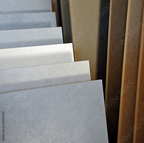 Exhibitor of porcelain stoneware for pavements, store of construction materials Fotobehang