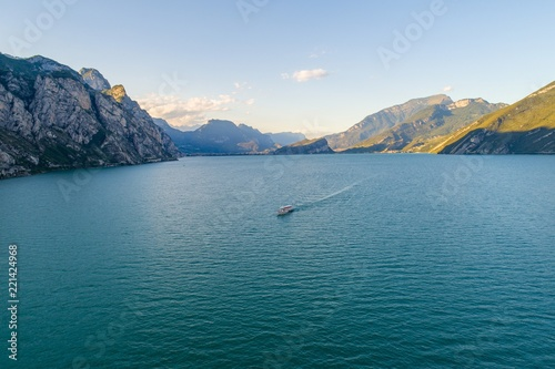 Photo Stands Night blue Aerial drone view on Lake Garda in Italy